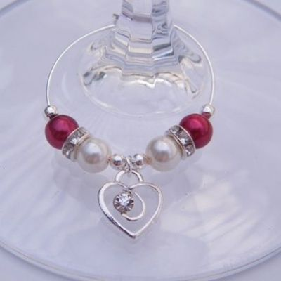 Clear Sparkle Swirl Heart Wine Glass Charm - Elegance Style